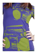 Famous Stars & Straps Womens Purple Green I'm Only Dancing Boombox T-Shirt NWT image 1