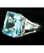 Vintage Stunning Bright Sterling Silver 12ct Paraibas Color Blue Topaz Ring CNA - $116.99