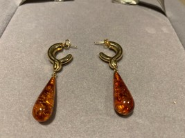 Vintage 14k marked yellow gold authentic Baltic Amber dangle earrings 4.3g  - $346.50