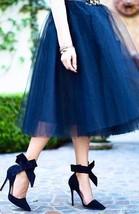 New luxurious 6 layers navy blue tulle women skirt midi knee length full... - $48.00