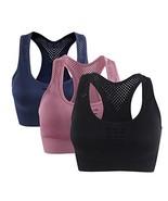 Women's Racerback Sport Bras Breathable Seamless Workout Sport Yoga Bra Tops 3 P - $28.97