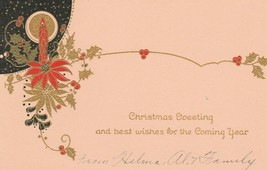 Vintage Christmas Card Art Deco Candle 1920's Red Black Gold Trim - $8.90