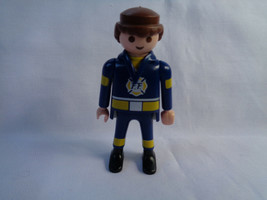 1997 Playmobil Fireman Firefighter Blue Uniform Male Replacement Figure  - $1.96