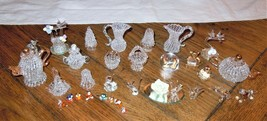 32pc Lot Miniature Blown Glass Animal Figurines Ornaments Baskets Teapot... - $39.59