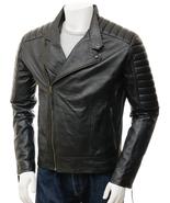 QASTAN Men's New Black Quilt Stitched Biker Sheep Leather Jacket QMJ61 - $149.00+