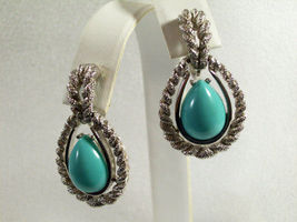 AVON Faux TURQUOISE Tear Drop Clip Earrings FROSTY SILVER Plated ROPE Vintage image 4
