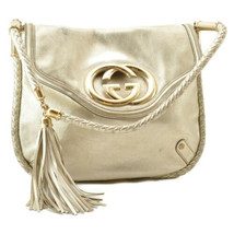 GUCCI Inter Locking Fringe Shoulder Bag Leather Silver Tone Auth rd106 - $860.00