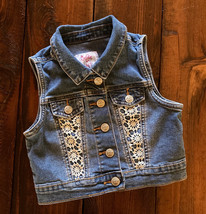 Justice girls' denim vest size 6-7 with white crochet accent snap front - $8.00