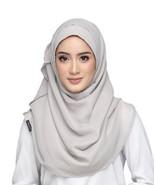 BOKITTA SILVER CLOUD PREMIUM - PLAIN SMOOTH CHIFFON INSTANT HIJAB Muslim... - $70.02+