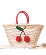 Summer Beach Picnic Cherry Straw Bag - $27.99