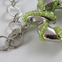 925 STERLING SILVER NECKLACE WITH PERIDOT FINELY WORKED BIG HEART PENDANT, ITALY image 5