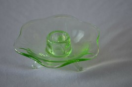 Fenton Lotus Petal Green Transparent Vaseline/Uranium Candle Holder # 1234 - $7.43