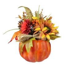 "Northlight 10"" Autumn Harvest Artificial Pumpkin Fall Leaf Mums Pine Con... - $27.22"