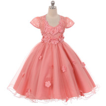 Rose Hi-Low Wired Tulle Dress Floral Bodice Lace Bolero Flower Girl Dress - $80.99