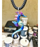 Beach seahorse glass pendant multi colored purples with blues and greens - $53.00