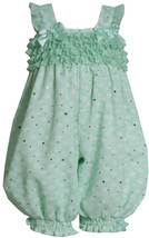 Bonnie Jean Baby Girl 3M-24M Spangle Polka Dot Chiffon Ruffle Romper, Mint