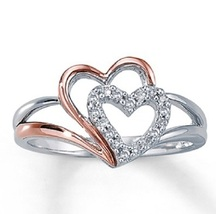 14k White Gold Plated 925 Sterling Silver Double Heart Elegant Engagement Ring  - £32.11 GBP