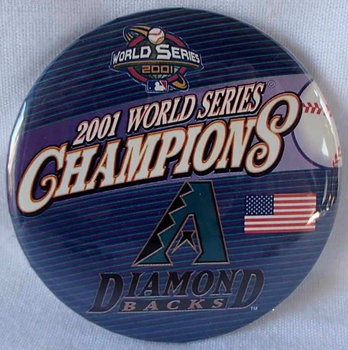 "Primary image for MLB World Series Champion 2001 AZ Diamondbacks - NY Yankees Baseball 3"" Pin New"
