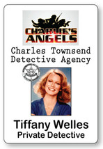 TIFFANY WELLES CHARLIE'S ANGELS NAME BADGE TAG HALLOWEEN COSPLAY MAGNET ... - $14.84