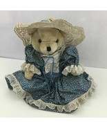 Vtg Plush Teddy Bear Victorian Lace Hat Dress Old Fashioned Grandma Doll... - $33.99