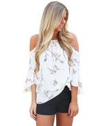White Cold Shoulder Spring Blossoms Top  - $16.17