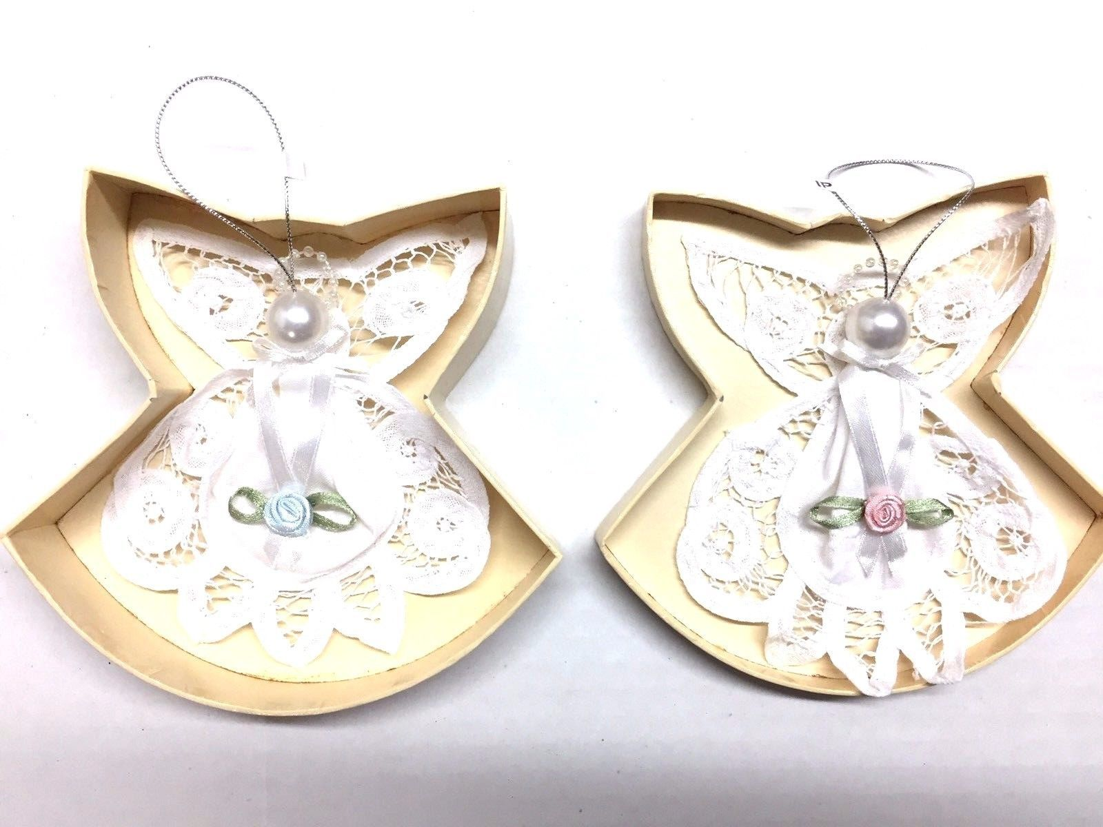 AVON set of 2 Battenburg Lace Snow Angels Ornaments Mint in Box Boy Girl