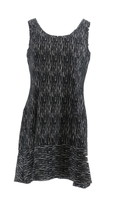 H Halston Petite Knit Jacquard Dress Hi-Low Hem Black PM NEW A301945 - $38.59