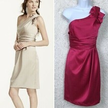 Davids Bridal Satin Bridesmaid Dress Pink 1 Shoulder Knee Length 8433 Wo... - $45.53
