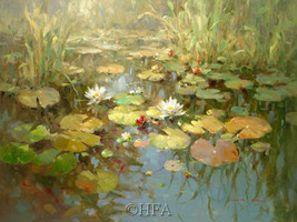 Waterlilies by Vera Oxley Floral Garden Canvas Giclee 36x27 Open Edition - $276.21