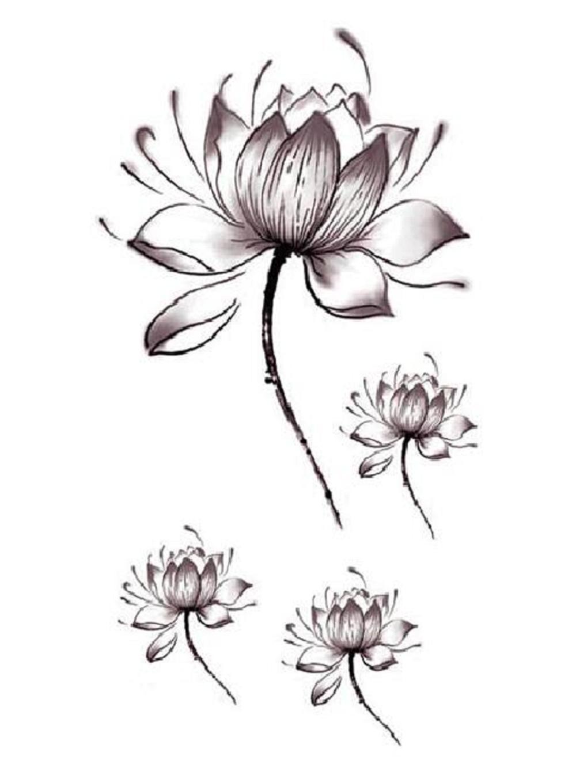 Women Lotus Flower Temporary Tattoo Stickers Body Art Waterproof