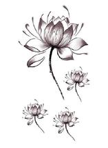 Women Lotus Flower Temporary Tattoo Stickers Body Art Waterproof image 1