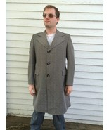 Vintage Mens Coat 70s Long Herringbone Brown Beltback Retro 41 Fall Autumn  - $29.99