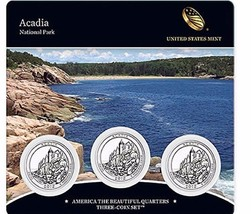 2012 US Mint America The Beautiful 3 Coin Set Acadia National Park Low M... - $25.95