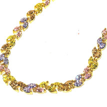 U7 Cute Girls Tennis Bracelet 18K Gold Plated Colorful Zirconia Chain Bracelet - $15.83