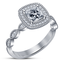 White Gold Finish Solid 925 Silver Cushion Cut Diamond Engagement Women'... - ₹5,464.11 INR
