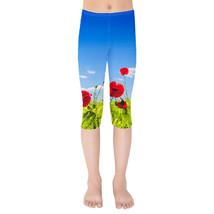 Red Poppies Field Kids Capri Leggings - $35.99+