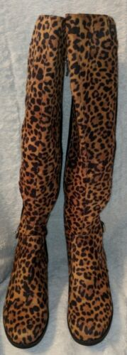 Liz Clairborne Polly Leopard Print Black Knee High Size 7 Boots