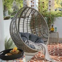 Hanging Chair Set Grey Wicker Egg Wicker w/Cushion Patio Lounge Chair Boho Chic image 7