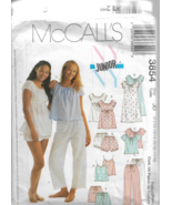 McCall's Junior Pattern #3854- Nightgowns-Tops-Camisoles-Shorts-Pant 11/12-17/18 - $5.86