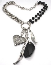 925 Silver Necklace, Double Onyx, Chain Dangle, Heart worked image 1