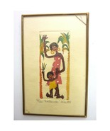 "Small Little Print Woman and Child ""Bailando"" , cracked glass frame - $14.99"