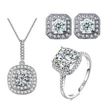 Fashion White Gold color Wedding Jewelry Set AAA CZ Necklace Set Engagement Ring