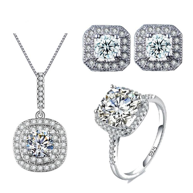 On white gold color wedding jewelry set aaa cz necklace set engagement ring earring and necklace