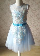 Girl Light Blue Flower Lace Dress High Waist Flower Girl Party Dress Birthday  image 8