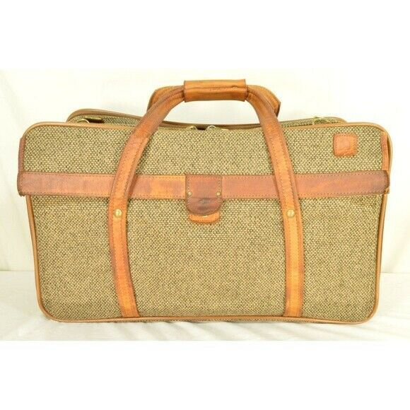 "Hartmann Luggage 21"" Tweed & Leather Vintage Carry on"