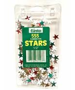 Eureka 555 Gummed Foil Stars Stickers Red Green Silver Gold 1/2in Teachi... - $3.95