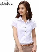 High Quality Fashion Womens short-Sleeve Chiffon Shirt Turn-Down Collar ... - $17.10