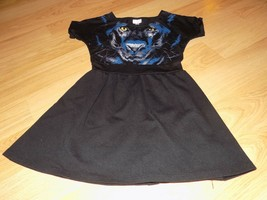 Girl's Size Small Disney Designed Black Panther Cat Casual Dress Rhinest... - $18.00