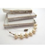"Retro Vintage Genuine White Pearl Silver Tone Wire 16"" Choker Length Nec... - $14.44"
