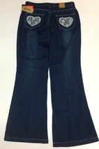 Juke Box Dark Indigo Denim Jeans Sz 11 Blue Lace Hearts NWT image 5